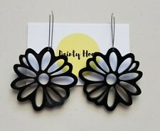 Black acrylic floral flower statement kidney hoop drop earrings