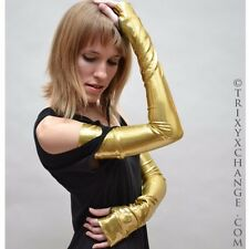 Gold Gloves Long Arm Warmers Woman Armwarmers Wonder Costume Hero Anime 1005