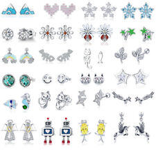 Hot Authentic 925 Sterling Silver Love CZ Earrings For Women Girls Jewelry Xmas