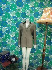 AF79 Vintage Wool Checked Tweed Jacket Velvet Collar Green Ladies Size 14 16