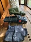 VINTAGE lot 2 Rare LINEMAR & TT TIN LITHO FRICTION NAVY TRUCK & ARMY TRUCK As Is