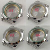 40mm sterile sapphire glass mens Watch Case fit 2836 Miyota 8215 8205 Movement