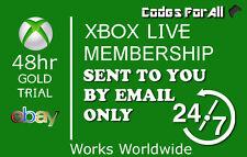 Xbox Live 2 días 48 horas envío instantáneo de código de prueba de oro