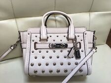 Coach 57138 Swagger Pebble Leather Ombre Rivets Mini Crossbody Chalk White $295