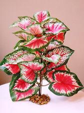 "Artificial Silk Aquarium PLANT with STONE BASE 11"" LG Pink & Green Caladium Bush"