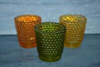 "3 Hobnail Glass Votive Candle Holder Set Green Yellow Orange 2.5"" Tall"