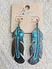 "Cowgirl Western Patina Metal Feather 2.5"" Long Dangle Earring Turquoise Boho"