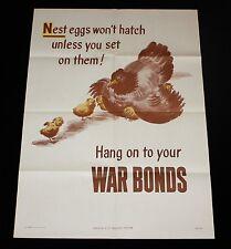 "1944 WWII U.S.A. War Bond Poster ""Nest Eggs Won't Hatch"" Hen Chicken Chick USA"