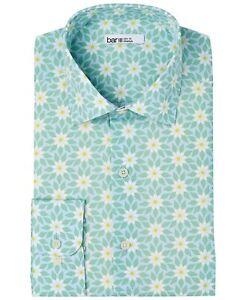 Bar III Mens Slim Fit Stretch Retro Daisy-Print Floral Dress Shirt 15-15.5