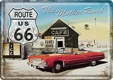 Route 66 Mother Road American car metal postcard / mini-sign 150mm x 105mm (na)