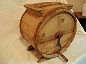 Genuine Antique Primitive Wooden Barrel Butter Churn W/ Handle/Cover/Paddles