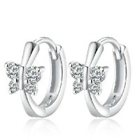 Ladies Hot Elegant Solid 925 Sterling Silver Zircon Butterfly Ear Hoop Earrings