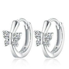 Ladies Elegant Solid 925 Sterling Silver Zircon Butterfly Ear Hoop Earrings