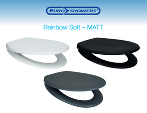 Matt Soft Close Toilet Seat Quick Release Top / Bottom Fix WHITE, GREY or BLACK