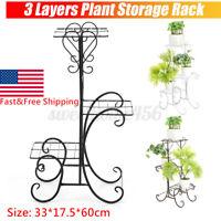 3-Flower Pot Racks Metal Plant Stand Shelf Holds Home Yard Garden Patio Decor US