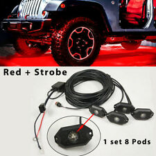 8 Pods Red LED Rock Lights Strobe Flash & Wiring Harness For Truck SUV Boat ATV