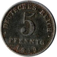 COIN / GERMAN EMPIRE / 5 PFENNIG, 1919  #WT3059