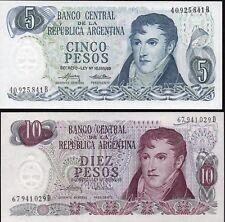 ARGENTINE,5et 10 Pesos 1974-76,NEUFS,UNC,Pick 294,295 /L203