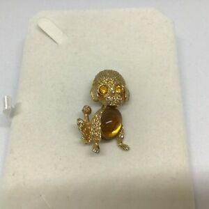 Vintage Gold Tone Barcs BROOCH JELLY BELLY DOG with Yellow Amber Eyes