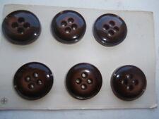 LOT 6 Gros Boutons Marrons Foncés anciens (3,4cm) époque mercerie 1950 NEUFS