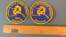 2 vintage hockey patches ASHA Alaska state tourney Bantam B 1985