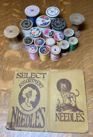 Vintage Wooden Thread Spools (19) With Heath & Gills Paper Needle Book Case