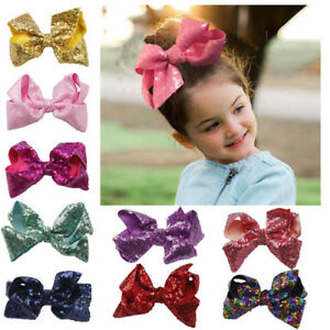 8 inch Big Large Sequin Hair Bow Alligator Clips Headwear Kids Hair Accessories