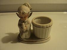 George Good praying angel figurine with barrel Estate sale Angel figurine