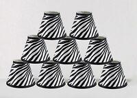 "Urbanest Mini Chandelier Lamp Shades 6-inch,Hardback,3""x6""x5"",Zebra,Set of 9"