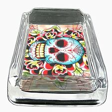 Glass Square Ashtray Skull D 18 Sugar Skull Day of the Dead Dia De Los Muertos