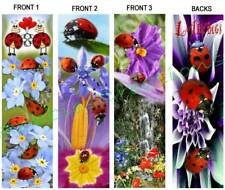 3 Lot-LADYBUG BOOKMARKS Flower Nature Artwork Ladybird Flower Lady Bug Book Card