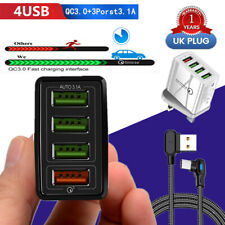 4 Ports USB Multi Wall Charger UK Plug Travel Charger Adaptor For iPhone Cable