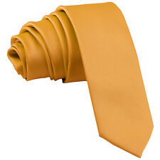 """New Polyester Men's 2.5"""" skinny Neck Tie only solid formal wedding prom gold"""