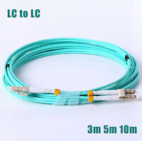 AMPCOM 10G Gigabit Fiber Patch Cable with LC to LC Multimode OM3 Duplex 50/125