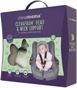 Clevamama ClevaFoam Head Neck Support Car Seat Pram Insert 0+ Months Grey/Purple