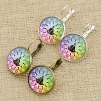 Yoga Cabochon Earrings Round Drop Dangle Ear Stud Women Charm Fashion Jewelry