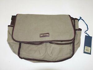 True Religion Men's Messenger Laptop Bag NWT Olive Green Brown Trim