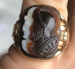 Vintage 10K GOLD Agate Men's DOUBLE CAMEO RING Alexander Great Hephaestion Exc