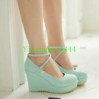 New Women's Ankle Cross Strap Buckle Pumps Wedge High Heel Platform Shoes Party