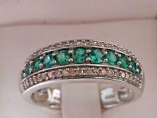 NEW Emerald & Diamond Anniversary Cigar Band Ring 10K White Gold Sz 7