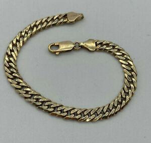 "9ct Gold Ladies 7 1/4"" Heavy Double Curb Link Bracelet.  Goldmine Jewellers."