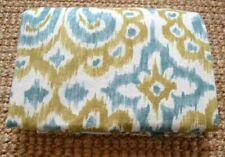 Pottery Barn Gold/Teal Ikat Print Cotton/Linen King Duvet Cover India