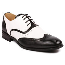 Black / White Men's Perforated Wing Tip Lace Up Dress Oxford Shoe