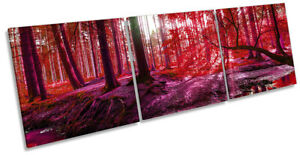 Forest River Creek Sunset Picture CANVAS WALL ART Triple Print Red