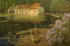"Guang Tingbo, ""The Green Pond T0001"" Oil on canvas 1992 with original Artist coa"