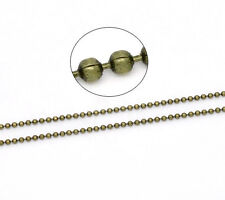 10 meters (over 32 feet) Antique Bronze Gold Tone Metal Ball Chain 1.5mm FCH0133