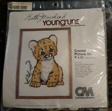 1980 Puma Cub Colombia Minerva 7153 Crewel Picture Kit Ruth Morehead Young'Uns