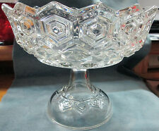 "Antique ""Medallion & Diamond Pattern 3 Mold Large Clear Glass Open Glass Compote"