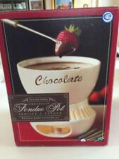 NEW  Williams Sonoma Porcelain Chocolate Fondue Pot w/6 Stainless Forks - NIB