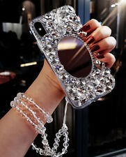 Mirror Bling Rhinestone Diamond Phone Case Chain for iPhone X XR XS MAX 6 7 8